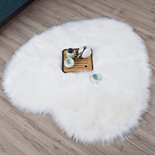 Dikoaina Classic Soft Faux Sheepskin Chair Cover Couch Stool Seat Shaggy Area Rugs for Bedroom Sofa Floor Fur Rug,White,Heart