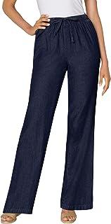 Women's Plus Size Pull-On Elastic Waist Cotton Chambray...