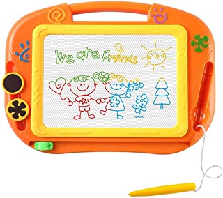 CCLIFE 12.6 Inch Magnetic Drawing Writing Graffiti Board, Portable Magnet Doodle Board with 1 Magnetic Pen & 2 Stampers 4 Color for Kids Babies Toddlers Children Girls Boys Mini Home Travel