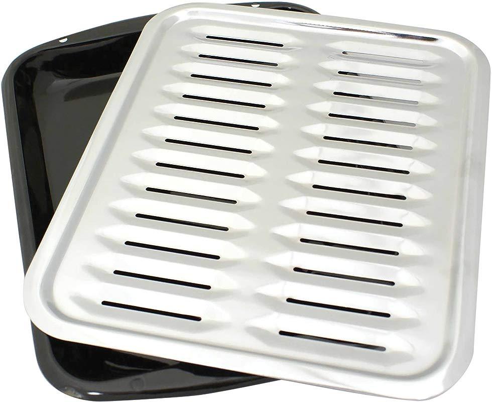Range Kleen BP100 Porcelain Broiler Pan With Chrome Grill 2 Piece