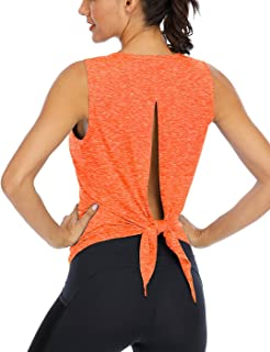 Fihapyli Workout Tank Tops for Women Yoga Shirt Sleeveless Open Back Shirts Tie Back Loose Fitting Tank Top