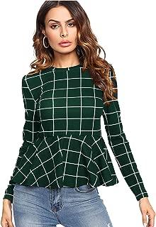 Women's Elegant Long Sleeve Ribbed Knit Ruffle Hem Peplum Top