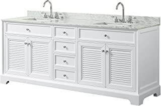 Wyndham Collection Tamara 80 inch Double Bathroom Vanity in White, White Carrara Marble Countertop, Undermount Square Sinks, and No Mirror
