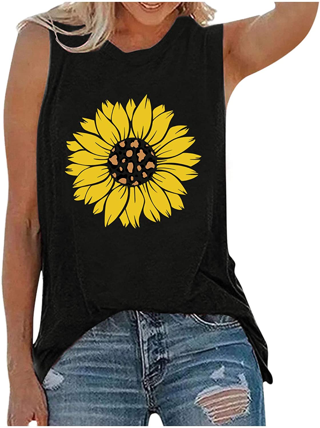 Womens Tank Tops Workout,Womens Crop Top Graphic Printed Shirts Sleeveless Fashion Blouse Loose Soft Comfortable Tee
