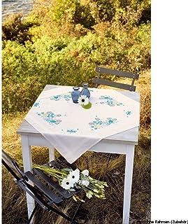 Vervaco Tischdecke Gräser & Libellen Stickpackung/Läufer im vorgedruckten/vorgezeichneten Plattstich, Baumwolle, Mehrfarbig, 80 x 80 x 0.3 cm