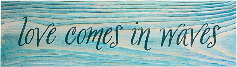 P. Graham Dunn Love Comes in Waves Blue Distressed 6 x 1.5 Mini Pine Wood Tabletop Sign Plaque