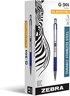 Zebra G-301 Stainless Steel Retractable Gel Pen, Medium Point, 0.7mm, Blue Ink, 12-Count
