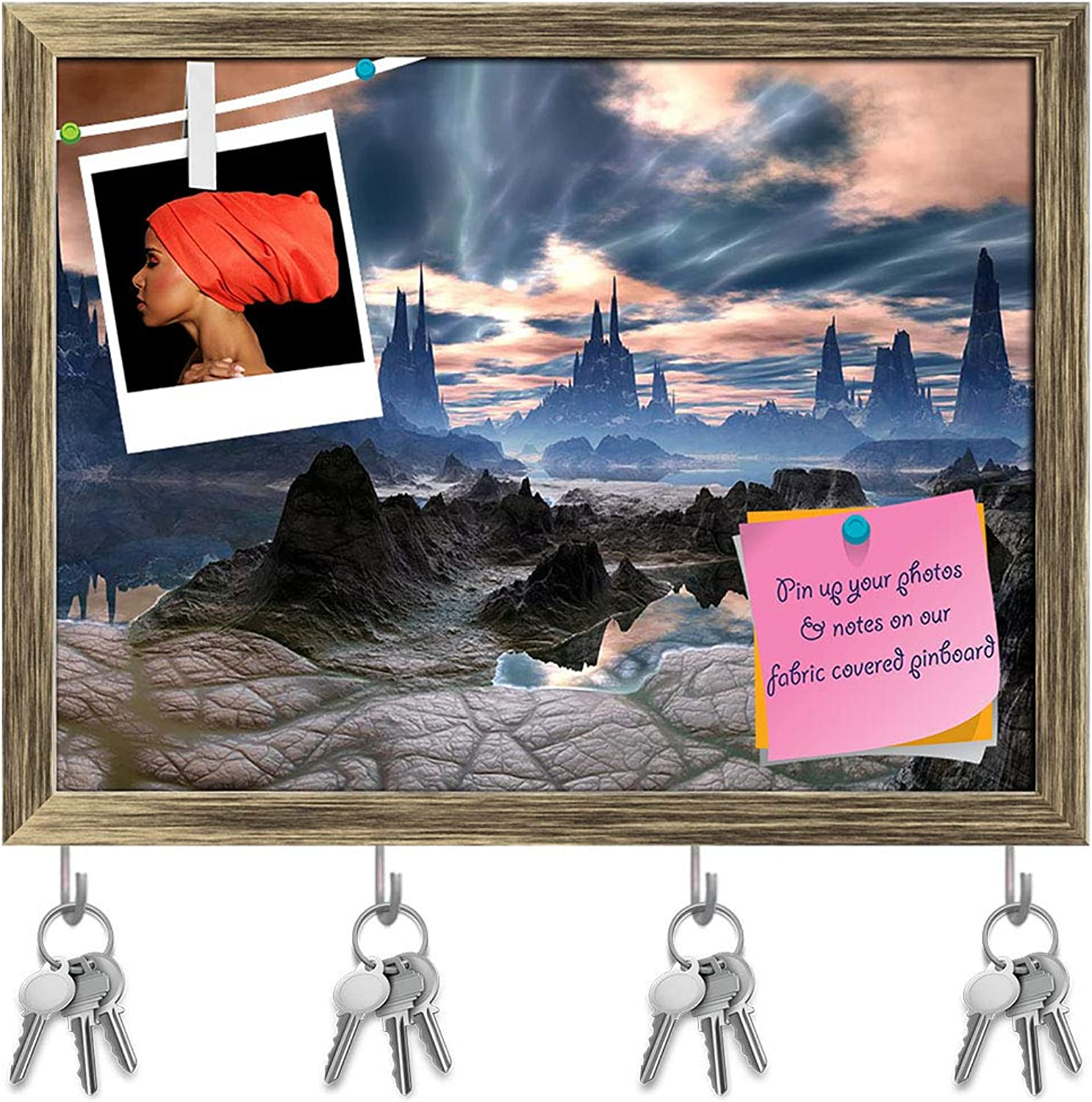 Artzfolio Electrical Storms Over Rock Towers On Alien World Key Holder Hooks   Notice Pin Board   Antique golden Frame 15.7 X 12Inch