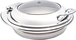 Sunnex Genoa Stainles Steel Induction Chafer;Round/ 6.8Ltr / 7.2U.S.Qt/Glass Lid - W36100 Uxw