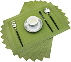 pigchcy Placemats,Heat Insulation Non Slip Plastic Placemats,Washable Easy to Clean Woven Vinyl Kitchen Stain Resistant Placemats for Dining Table Set of 6 (Olive Green)