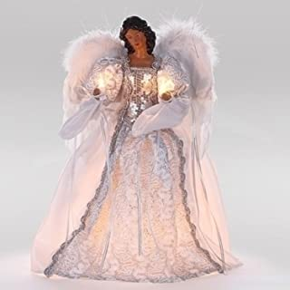 """Roman 14.5"""" African American Decorative Light Up White and Silver Tree Topper"""