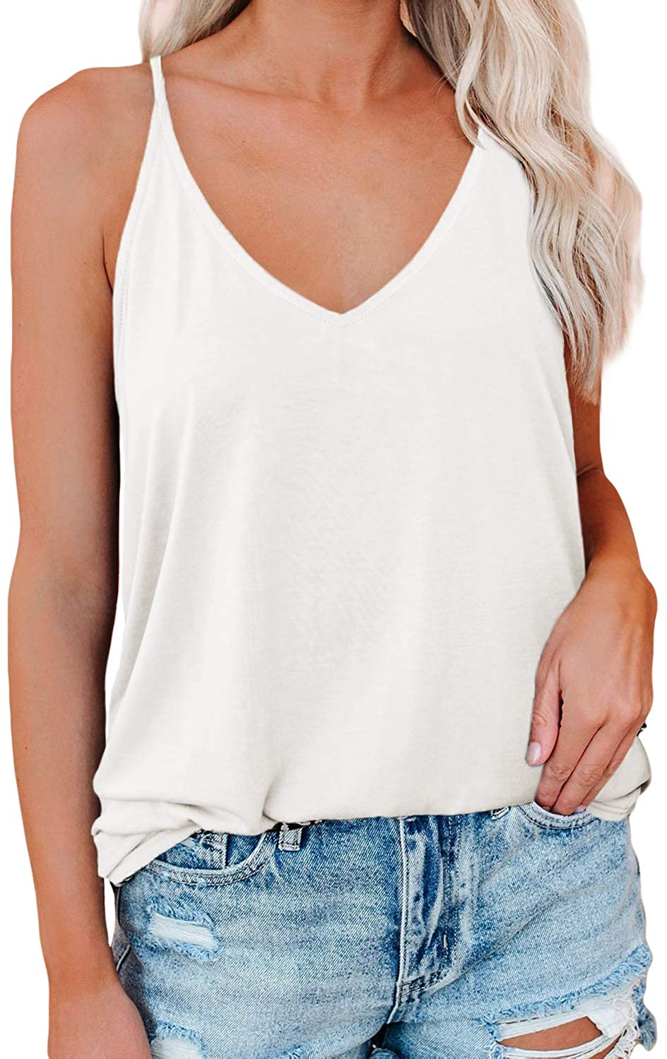 Spriolim Women's V Neck Strappy Cami Tank Tops Sleeveless Loose Casual Summer Blouse Shirts