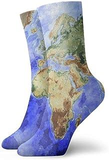 Kevin-Shop, Niños Niñas Loco Divertido Tierra Mapa del Mundo Arte (13) Calcetines Lindos del Vestido de la Novedad