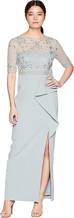 Petite 3/4 Sleeve Beaded Bodice Mob Gown with Ruffle Crepe Skirt