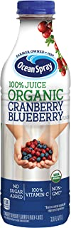 Ocean Spray 100% Juice, Organic Cranberry Blueberry, 1 Liter Bottle (Pack of 8)