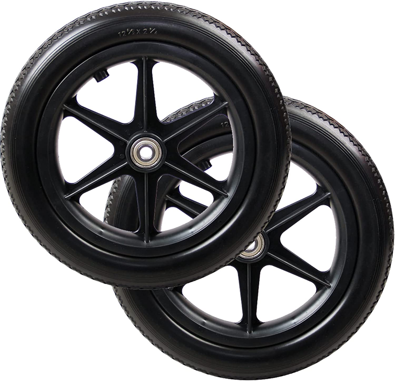 ZLL Wheelchair Rear Wheel Assembly, Gray PU Wheelchair Wheels, 2