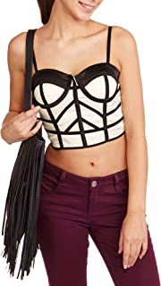 Juniors' Abstract Bustier Crop Top with Adjustable Straps