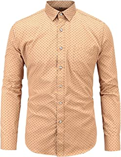 Jandukar Men Casual Cotton Botton Down Shirt Long Sleeve Dress Shirts