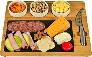 Picnic at Ascot Bamboo & Slate Cheese/Charcuterie Board - Includes 3 Ceramic Bowls & Cheese Knife- Patent Pending - Designed & Quality Checked in the USA
