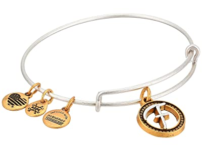 Alex and Ani Initial F Charm Bangle (Two-Tone) Bracelet
