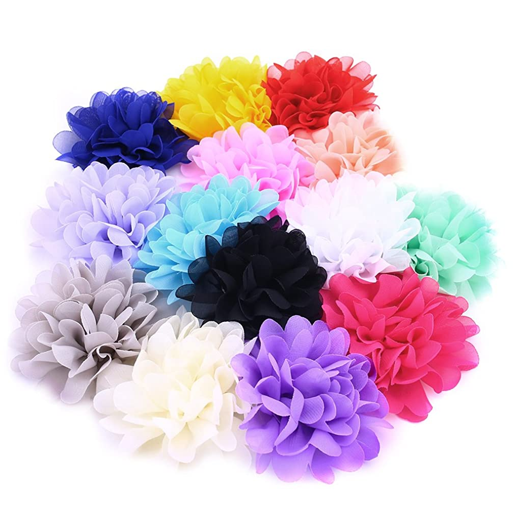 Fabric Flowers, 4 Inch 14Pcs Lace Chiffon Peony Fabric Flowers for DIY Headbands Girl Flower Accessories