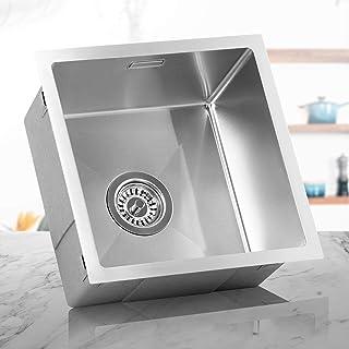 LOMAZOO Spülbecken Edelstahl Küche | Spüle Unterschrank Küchenspüle Einbauspüle Küchenwaschbecken | Kratzfest & Frostschutz-Beschichtung | Mit Schallabsorbierenden Pads | Spüle 40 cm x 40 cm