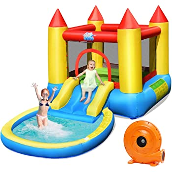 HONEY JOY Inflatable Bounce House, Kids Castle Jumping Bouncer W/Slide &Splash Pool, Includes Carry Bag, Repairing Kit, Stakes, Ocean Balls, Indoor Outdoor Party Water Play House(With 580W Air Blower)