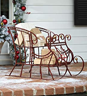 Plow & Hearth Red Metal Holiday Sleigh