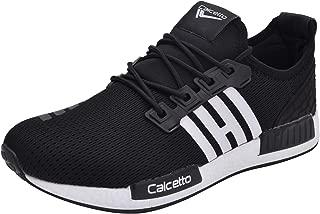 calcetto Mens Black White Nylon Running Shoes