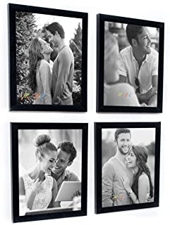 Art Street Set of 4 Individual Couple Photo Frame/Wall Hanging for Home Décor - Black