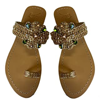 Gorgeous Jeweled Genuine Leather Shoes Pasha, Style HUJA Asparagus/Gold