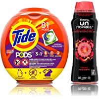 81-Count Tide PODS 3-in-1 HE Turbo Laundry Detergent Pacs (Spring Meadow Scent) + Downy Scent Booster Beads
