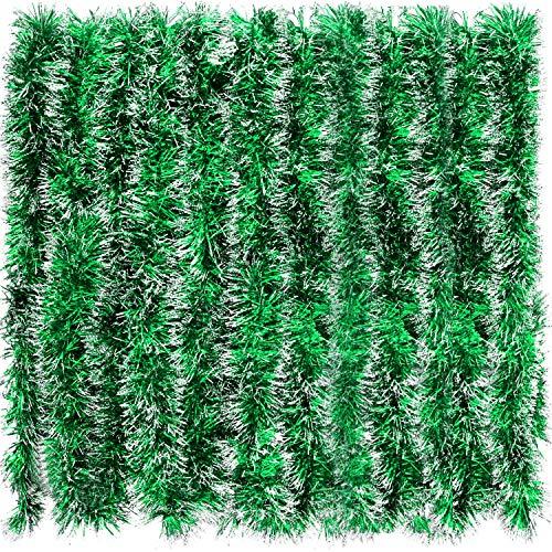 BBTO 32,8 Fuß Weihnachten Lametta Girlande Schneebedeckt Dick Glänzend Girlande Weihnachtsbaum Ornamente für Weihnachten Hochzeit Geburtstag Party Urlaub Dekoration (Grün)