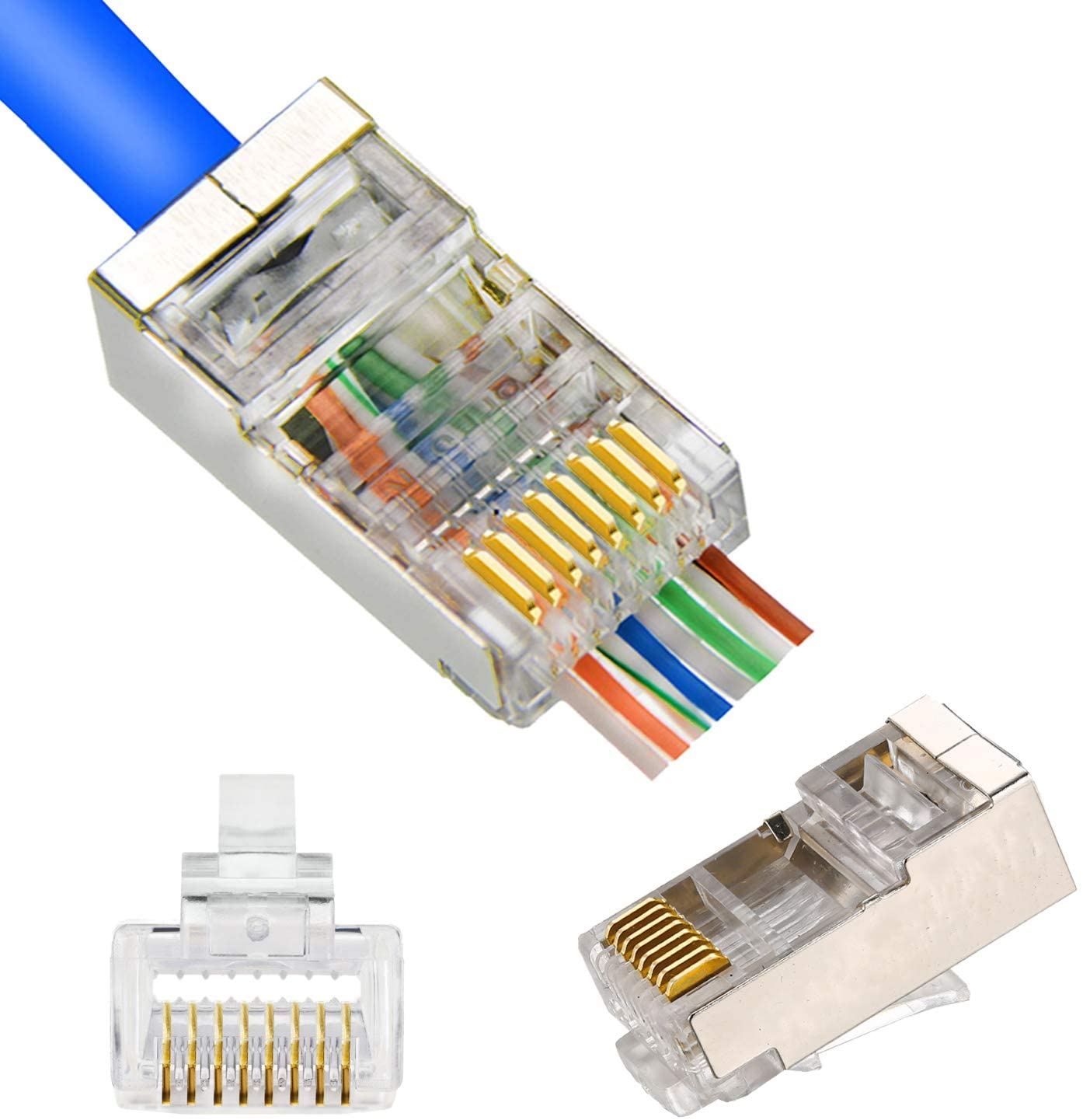 Amazon.com: RJ45 CAT5 CAT6 Shielded Connector End Pass Through Gold Plated  Ethernet 8P8C 3u Modular Plug 20Pack: Computers & AccessoriesAmazon.com