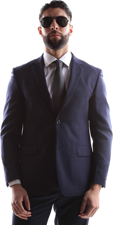 Prontomoda Men's 2 Button Luxury 100% Lamp Wool Navy Slim Fit Sport Coat Size Long 40