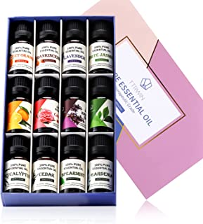 TTRWIN Essential Oil Gift Set,Top 12 Premium Aromatherapy Floral Essential Oil,Natural & Pure Therapeutic Fragrance Oil fo...