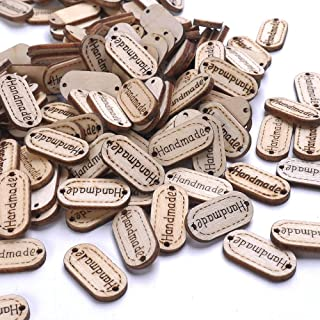 NUOMI Wooden Handmade Tags Personalized Labels 300 Pieces Oval Wood Gift Tags with 2 Holes for Crafts Hanging/Sewing Embellishments