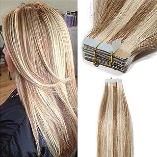 Elailite Extensiones de Cabello Natural Adhesivas Remy Pelo Humano [2g *40 Unidads] 80g - 30 cm #12P613 Castaño Dorado Mecha Rubio Muy Claro - Tape in Hair Extension Lisa