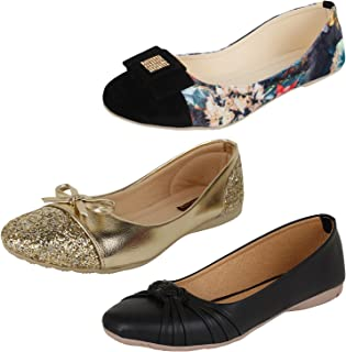 AUTHENTIC VOGUE Women's Combo Pack of 3 Trendy & Stylish Ballerinas (Combo Pack of 3)