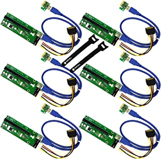 MintCell 6-Pack PCIe 4-Pin MOLEX PCI-E 16x to 1x Powered Riser Adapter Card w/60cm USB 3.0 Extension Cable & MOLEX to SATA Power Cable - GPU Riser Adapter Ethereum Mining ETH + 2 Cable Ties