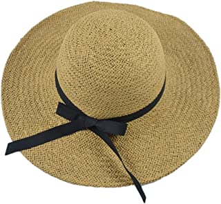 Visor Beach Hat Travel Hat Bow Hand-Knitted Big Hat (Color : Black Bow Coffee, Size : M (56-58cm))