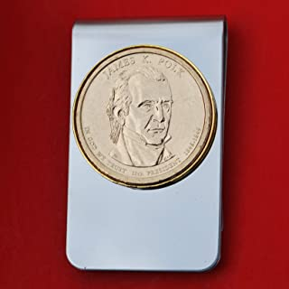 US 2009 Presidential Dollar BU Uncirculated Coin Stainless Steel Gold Silver Two Tone Money Clip NEW - James K. Polk (1845-1849)