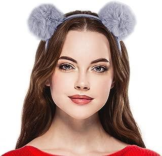 Lux Accessories FauxFur Pom Cat mouse Ear Puff Ear Halloween Headband