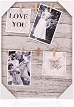HANTAJANSS Clip Photo Holder, Picture Display Frame, Photo Collage Board, Wood Hanging Frames with 6 Clips for Home Wall Decor, 12 ×16 Inches