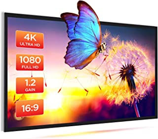 Bomaker Projector Screen, 1.2 Gain, 4K HD 100'' 16:9 Wrinkle-Free Fixed Frame Screen, 160° Viewing Angle for Movie, Gaming...