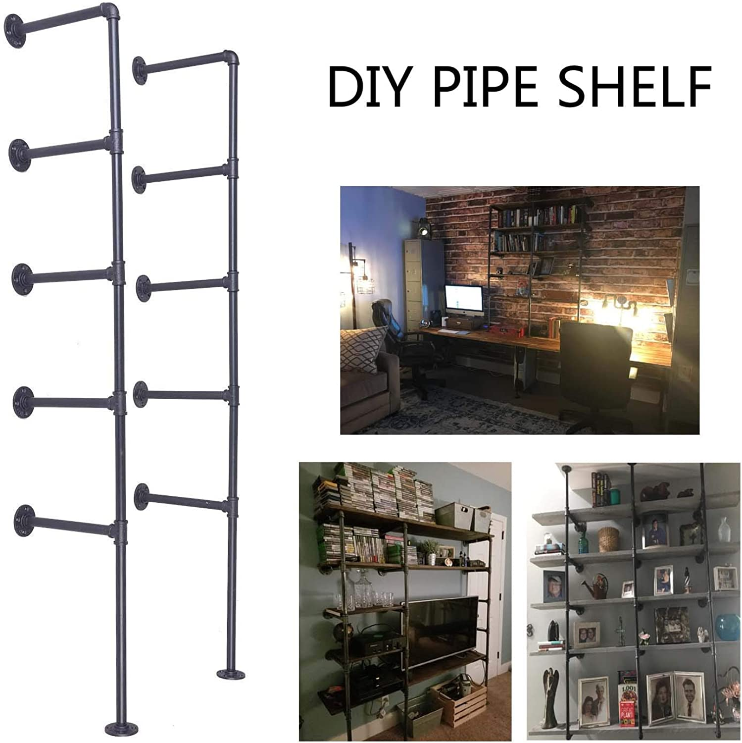 Topower Industrial French Country Style Decorative Pipe Wooden Wall ShelvesRustic DIYCeiling Five-Layer Pipe Shelf Wall Vintage Hung Bracket Industrial Shelves (Five-Layer × 2)