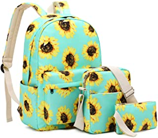 Sunflower Backpacks for Girls, Cute Bookbags with Shoulder Bag and Purse for Teens, 15.6 Inch Laptop Backpack for School lightweight Girls Backpack
