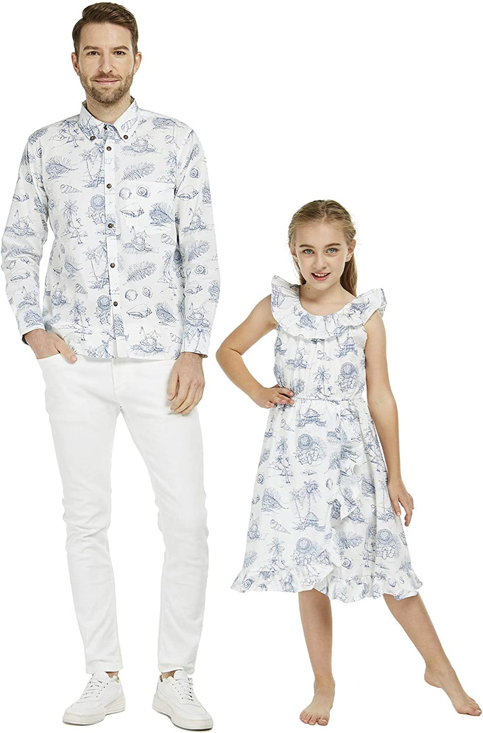 Matching Hawaiian Luau Father 2021 spring Ranking TOP6 and summer new Daughter Long Shirt Dr Sleeve Wrap