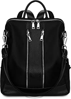 YALUXE Women's Fashion Backpack Daypack Large Capacity Genuine Leather & Nylon Shoulder Bag Schoolbag Satchel