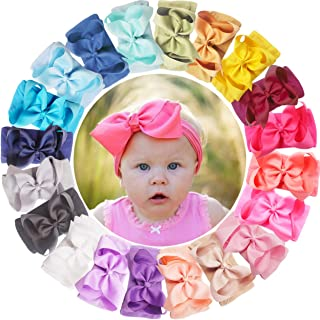 ALinmo 20pcs Baby Nylon Headbands Hairbands Big 6 Inch Hair Bow Elastics Hair Accessories for Baby Girls Newborn Infant To...